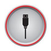 Usb flash drive icon circular button — Stock Vector