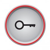 Key icon circular button — Stock Vector