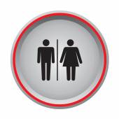 Man and woman sign circular button — Stock Vector