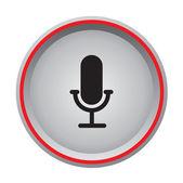Microphone icon circular button — Stock Vector
