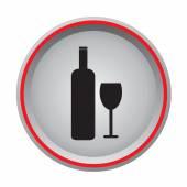 Bottle and glass icon circular button — Stock Vector
