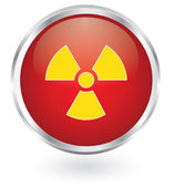 Radiation symbol glossy button — Stock Vector
