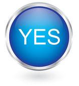 Yes blue circular button — Stock Vector