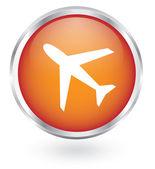Plane glossy button — Stock Vector
