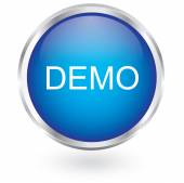 Demo icon glossy button — Vector de stock