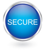 Secure icon glossy button — Stock Vector