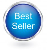 Best seller blue button — Stockvector