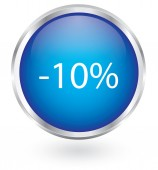 10 percent discount icon glossy button — Stock Vector