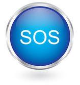 SOS icon glossy button — Stock Vector