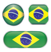Brazil flag glossy button — Stock Vector