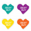 Vector - Best buy sign iconvalentine heart stickers. — Stock Vector #62689045