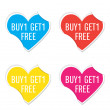 Vector - Buy 1 Get 1 Free icon valentine heart stickers. — Stock Vector #62689237