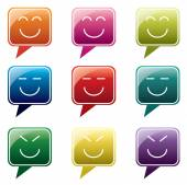 Vector - Set of colorful speech bubbles with smile face icon — Stock Vector