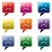Vector - Set of colorful speech bubbles with sad face icon — Stock Vector
