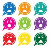 Vector - Set of colorful speech bubbles with angry face icons — Stock Vector