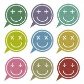 Vector - Set of speech bubbles with smile face icon — Stock Vector