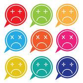 Vector - Set of colorful speech bubbles with sad face icon — Vetor de Stock