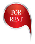 Red for rent speech bubble — Stock Vector