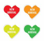 Vector -New arrival sign icon valentine heart stickers. — Vector de stock