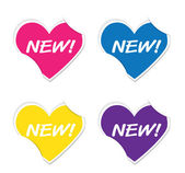 Vector - New sign icon valentine heart stickers. — Vettoriale Stock