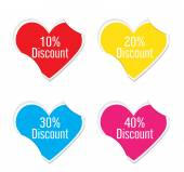 Vector - Sale sign icon valentine heart stickers. — Stock Vector