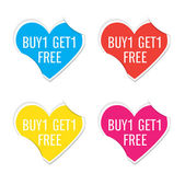Vector - Buy 1 Get 1 Free icon valentine heart stickers. — Stock Vector