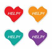 Vector - help icon valentine heart stickers. — Stockvector