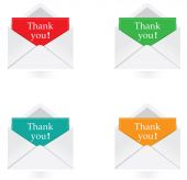 Vector - Set of envelope with thank you message — Stock Vector