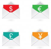 Vector - Set of colorful note with dollar, euro, yen, pound symbol — Stock Vector
