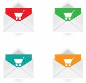 Vector - Set of colorful note with buy now icon — Vecteur
