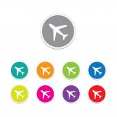 Vector - plane sign icon. Round stickers. — Stock Vector