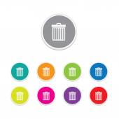 Vector - bin icon. Round stickers. — Stock Vector