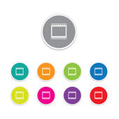 Vector - film strip icon. Round stickers. — Vettoriale Stock