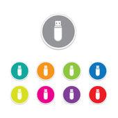 Vector - usb flash drive icon. Round stickers. — Stock Vector