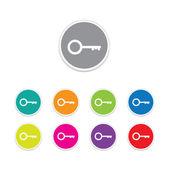 Vector - key icon. Round stickers. — Stock Vector