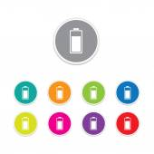 Vector - battery charge icon. Round stickers. — Vector de stock