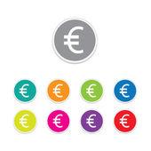 Vector - euro icon. Round stickers. — Stock Vector