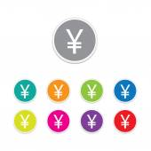 Vector - yen sign icon. Round stickers. — Vector de stock