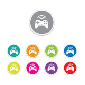 Vector - game pad wireless icon. Round stickers. — Stock Vector