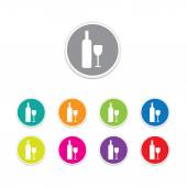 Vector - bottle and glass icon. Round stickers. — 图库矢量图片