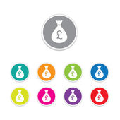 Vector - pound sign icon. Money bag symbol colorful buttons. — Stockvector