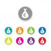 Vector - euro sign icon. Money bag symbol colorful buttons. — Stock Vector