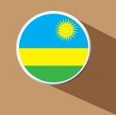 Vector - Rwanda Flag button icon with long shadow — Stock vektor