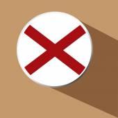 Vector - Alabama Flag Button Icon with long shadow — Stock Vector