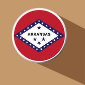 Vector - Arkansas State flag Button Icon with long shadow — Stock Vector