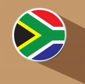 Vector - South Africa Flag Button Icon with long shadow — Stock Vector