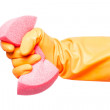 Hand in glove holding sponge, isolated on white background. — Stock Photo #65277013