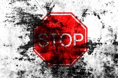 Stop sign on grunge background — Stock Photo
