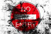 No entry for vehicular traffic road sign painted on a grunge background — Stock Photo