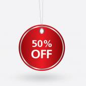 Red oval discount 50 percent off tag. vector illustration — Stock Vector